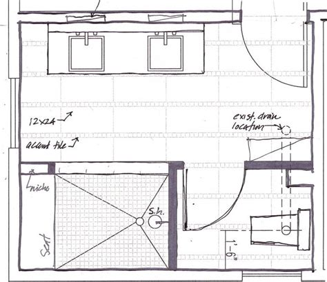master bathroom floor plans with walk in shower bath layout black dog design blog