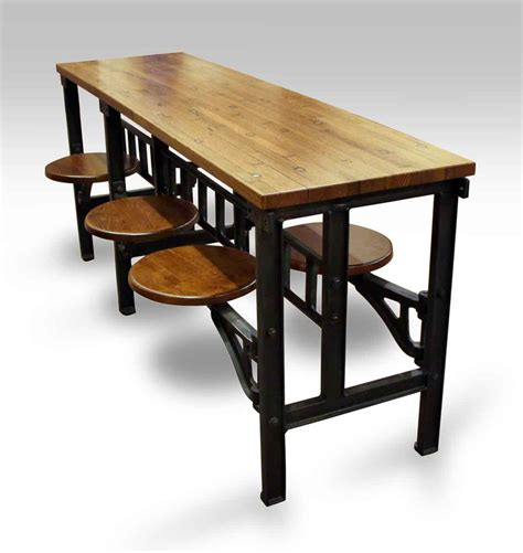 swing table six swing seat industrial flooring table olde things