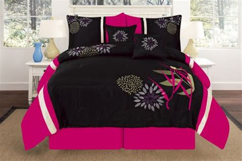 hot pink and black print comforter bedding sets for