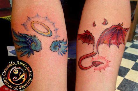 angel and devil on your shoulder tattoo angel and devil wings tattoo color best gallery tattoo