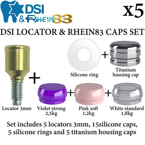 housing locator 5x dsi dental implant set locator 3mm silicone caps ring housing cap ebay
