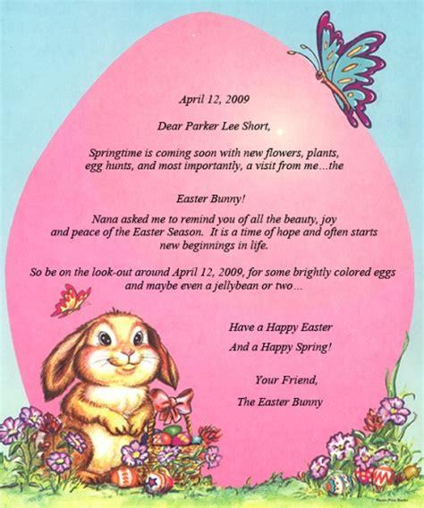 letter from the easter bunny storyisyours com