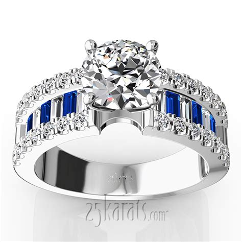 Wedding Rings With Sapphires And Diamonds by Engagement Ring With Sapphire And Baguettes 1 25