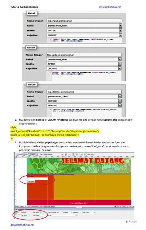 tutorial web with php tutorial aplikasi bioskop berbasis web php