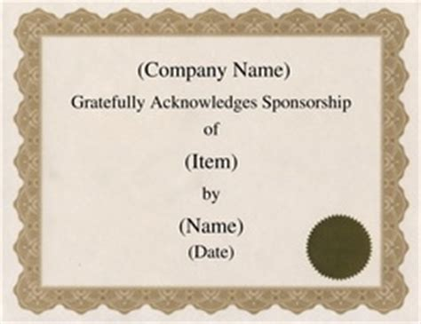sponsorship certificate template free word certificate templates wording geographics