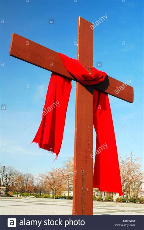 red veil  draped   cross   catholic