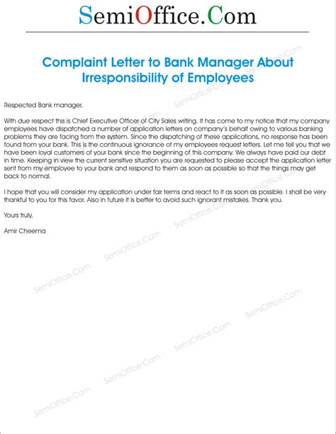 Complaint Letter Bank Staff Complaint Letter To Bank Manager