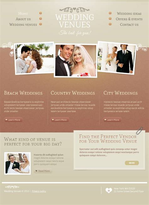 Wedding Cms by Wedding Venues Html Cms Template 45127