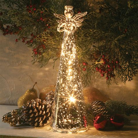 mercury glass angel led lighted battery powered cordless