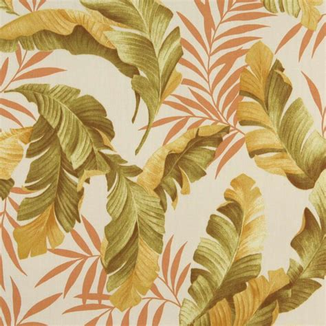Tropical Upholstery Fabric Orange Green And Gold Floral Leaf Outdoor Marine