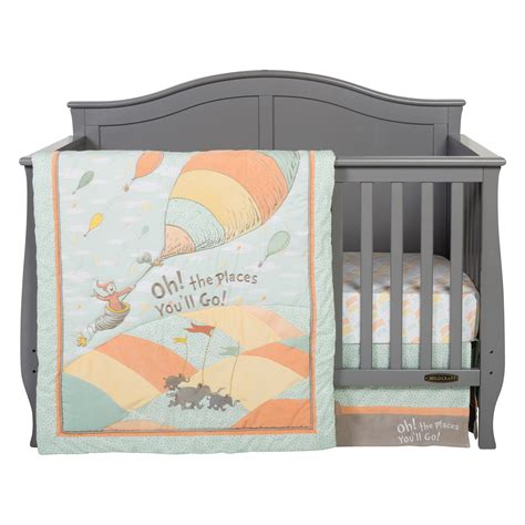 Unisex Crib Bedding Set Dr Seuss Oh The Places You Ll Go Unisex 5 Crib Bedding Set Trend Lab