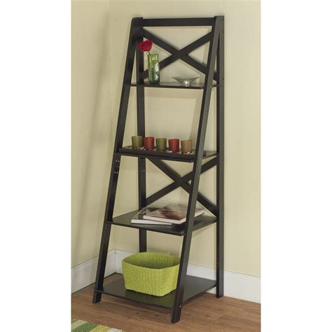wooden ladder shelf bookcase furniture simple black wood ladder bookshelf for interior