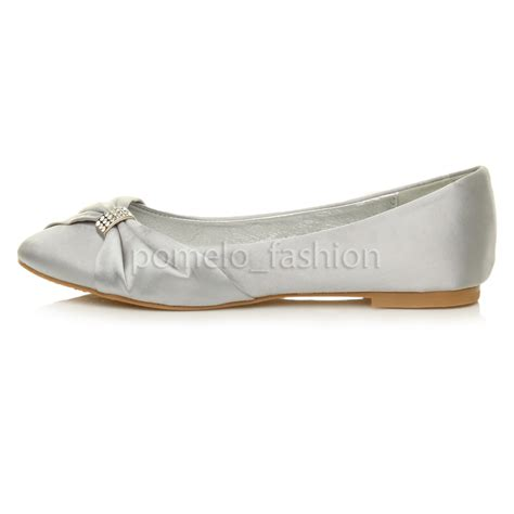 Flat Evening Shoes by Womens Flat Evening Bridesmaid Bridal Wedding Dolly