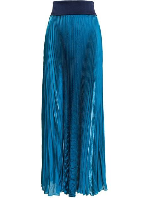 galvan pleated maxi skirt in green lyst