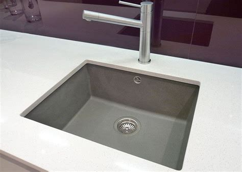 white quartz kitchen sink polished square undermounted sink silgranite grey with