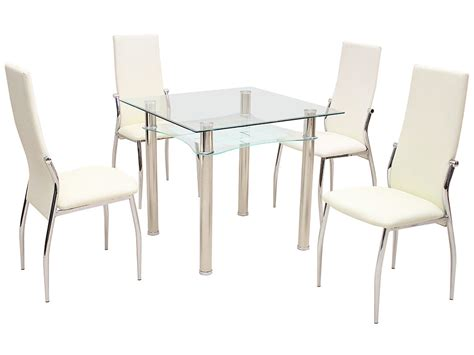 Glass And Metal Dining Table And Chairs Metal Glass Square Dining Table And Chair Set With 2 4 Seats Black Ebay