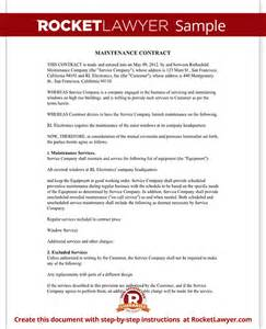 Maintenance Contract   Maintenance Service Contract