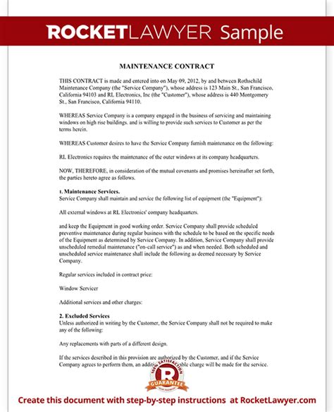 Maintenance Contract Maintenance Service Contract Template With Sle Maintenance Contract Template Free