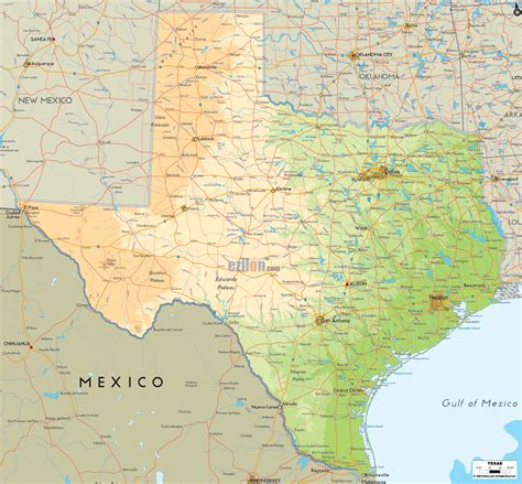 texas in the map physical map of texas ezilon maps