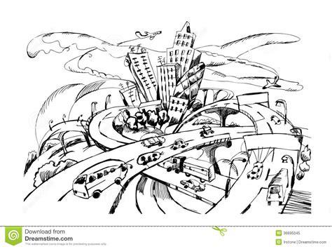doodle escape city escape doodle traffic concept illustration royalty
