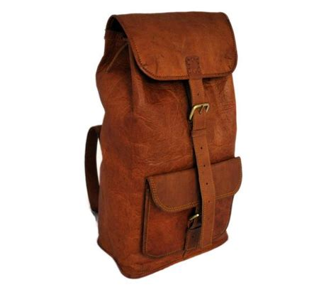 Handcrafted Leather Products - grain leather backpack high on leather