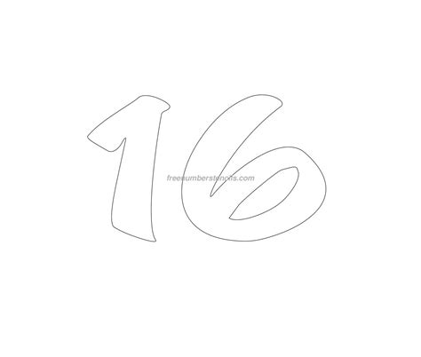 free cartoon 16 number stencil freenumberstencils com