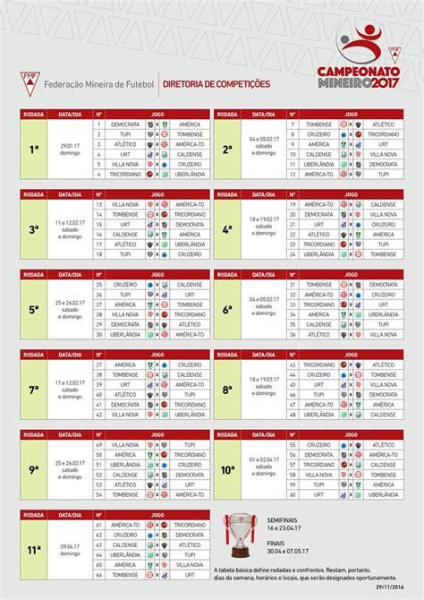 Calendario Brasileirao 2017 Fmf Divulga Tabela De Jogos Do Ceonato Mineiro De 2017