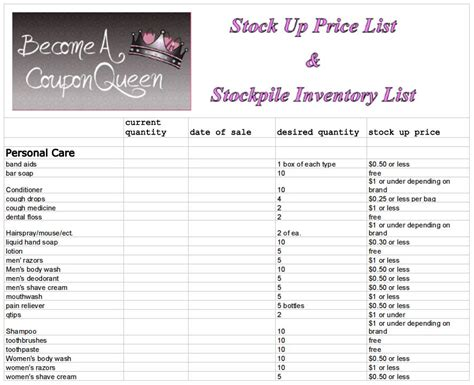 coupon list template stock up price list and stockpile inventory sheet become