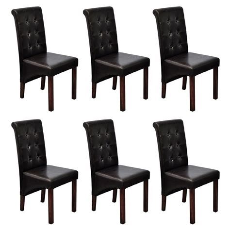 Scroll Back Leather Dining Chairs 6 Scroll Back Artificial Leather Wooden Dining Chairs Brown Vidaxl