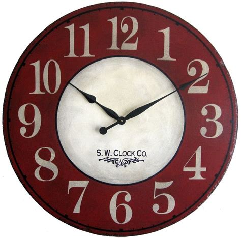 rustic crackle face oversize wall clock transitional 24 inch devonshire large wall clock antique style red