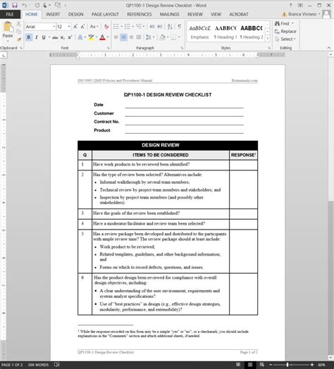 design review document template design review checklist iso template