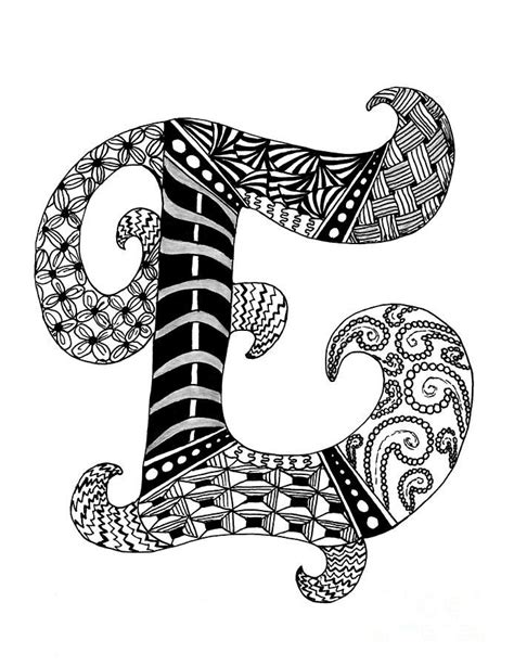 zentangle pattern letters zentangle letter e monogram in black and white drawing