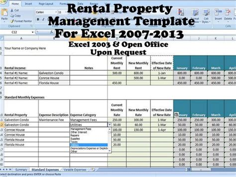 Rental Property Management Template Long Term Rentals Rental Property Management Template