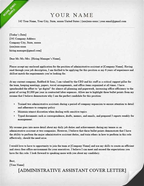 Cover Letter Templates For Administrative Assistant by Administrative Assistant Executive Assistant Cover Letter Sles Resume Genius