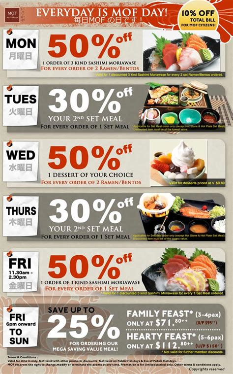day restaurant promotions mof izakaya japanese restaurant promotions everyday is