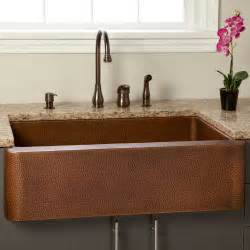 Hammered Copper Farmhouse Kitchen Sinks 36 Quot Fiona Hammered Copper Farmhouse Sink Kitchen