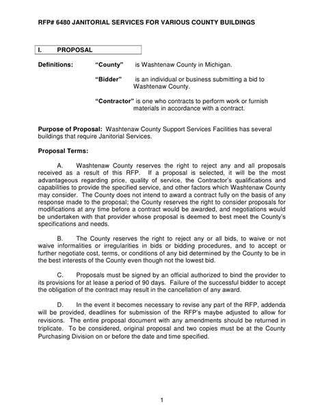 ... Sealed Bid Letter Template Uk Docoments Ojazlink. REQUEST FOR PROPOSAL # 6480 JANITORIAL SERVICES For VARIOUS