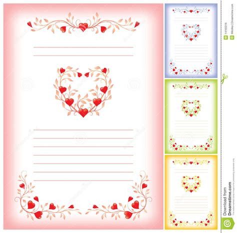 romantic letter template hearts stock vector