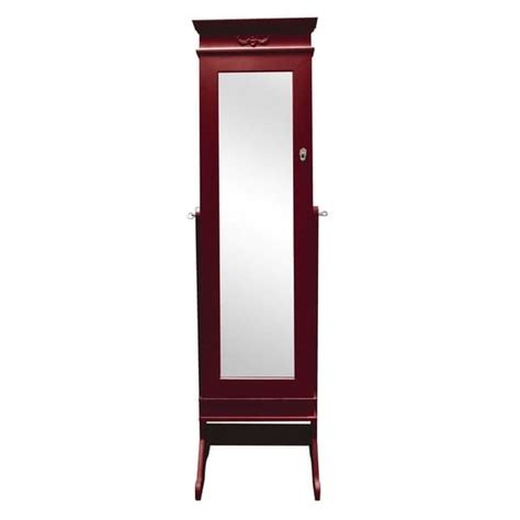 Free Standing Length Mirror Jewelry Armoire baxton studio bimini brown finished free standing