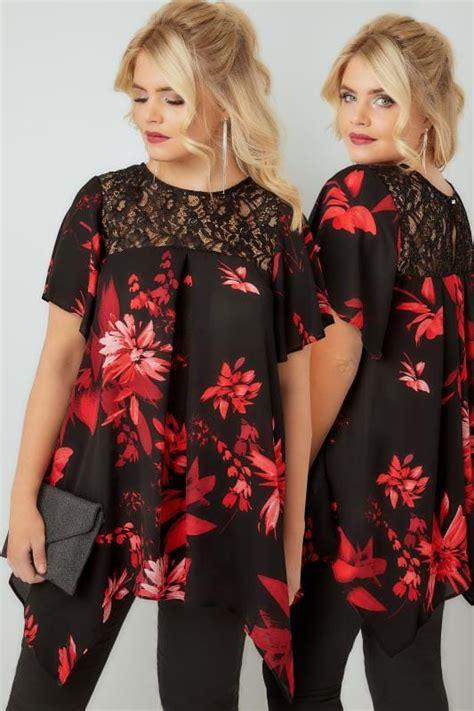 X89 2809 06 Kyren Blouse black floral print blouse with lace sequin yoke