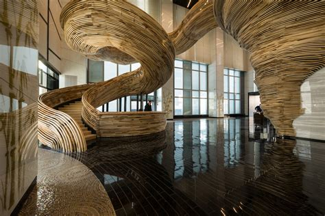 Enclosed Bookshelf Atrium Tower Lobby Oded Halaf And Crafted By Tomer