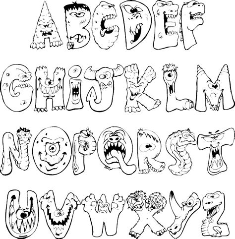 monster alphabet coloring pages scary monsters alphabet abc s 1 2 3 s