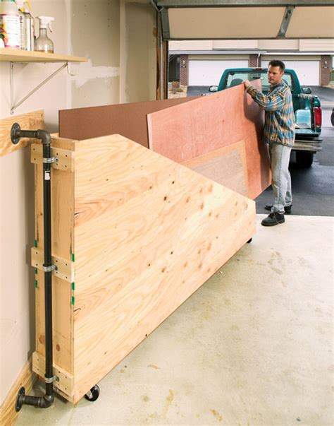 Lumber Storage Garage by Swing Out Plywood Storage Popular Woodworking Magazine