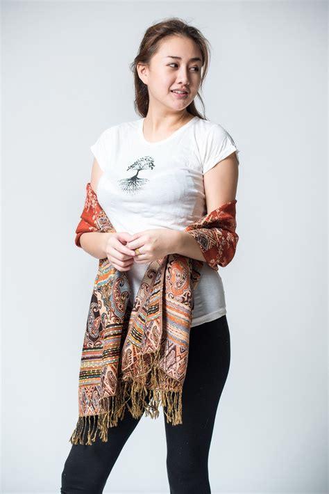 Pashmina Bordir Pashmina 1 nepal made pashmina shawl scarf rust sure design