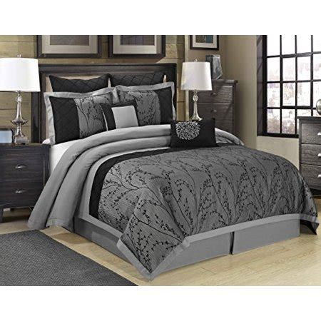 wrinkle free grey and white comforter set 8 weistera jacquard tree branches clearance bedding comforter set fade resistant wrinkle