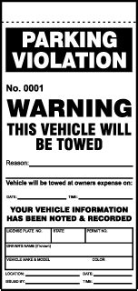 Durable Parking Violation Tickets Parking Warning Notice Template