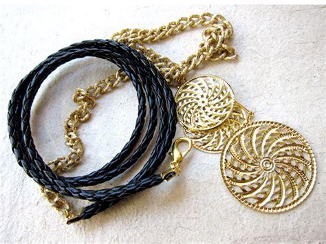 Bando Rantai Gold headband tali kulit salah satu variasi aksesoris u
