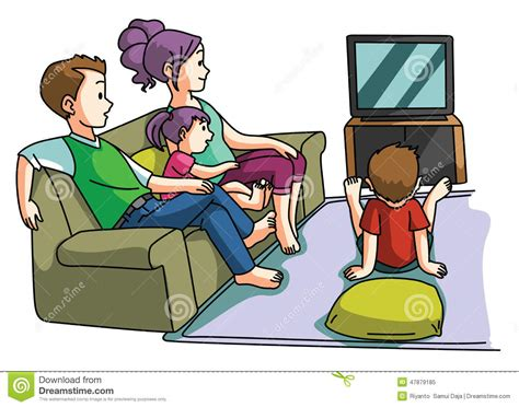 Xl Dog Sofa Family Watching Tv Time Stock Vector Image 47879185