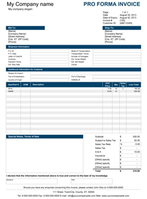 Free Proforma Invoice Template For Excel Free Proforma Invoice Template