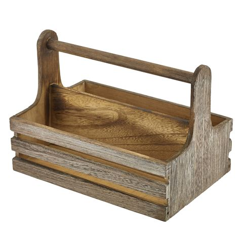 Dining Table Caddy Genware Rustic Wooden Table Caddy